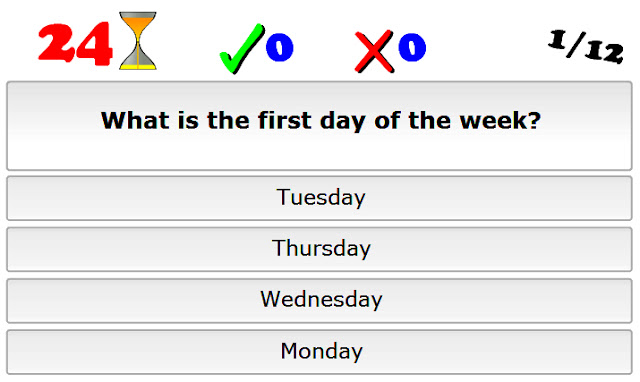 Number Names Worksheets days of the week exercises : English is FUNtastic: Days of the week - multiple choice ...