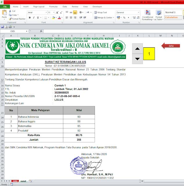 Aplikasi Surat Keterangan Lulus (SKL) Menggunakan Excel - Otomatis