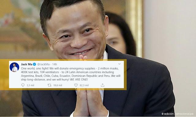 : Alibaba donará 2 millones mascarillas y 400 mil kits de análisis de coronavirus