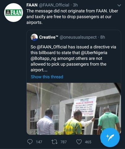 FAAN Denies Banning Taxify, Bolt And Uber From The Lagos Airport