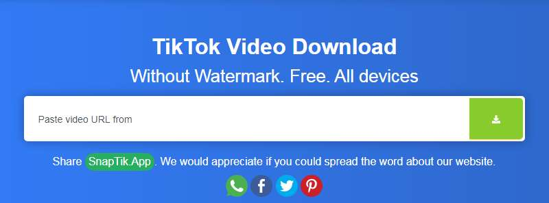 Screenshot situs Snaptik untuk Download Video TikTok tanpa Watermark (teknolagi.net)