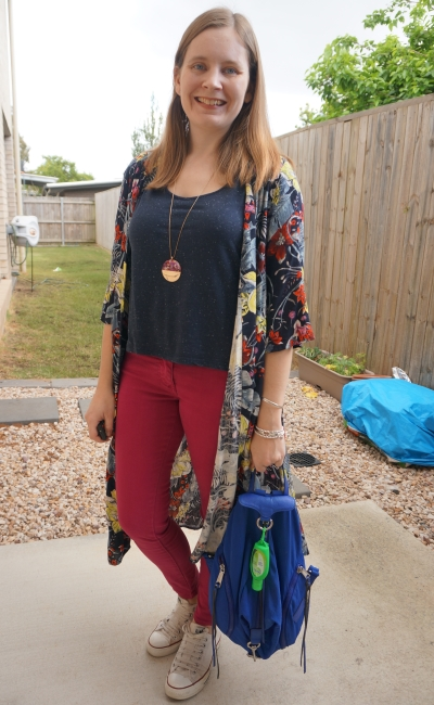 magenta skinny jeans navy tee Jeanswest melanie tropical floral print duster kimono nylon Julian backpack | awayfromblue