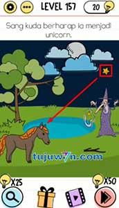 Level 157 jawaban sang kuda berharap ia menjadi unicorn brain test