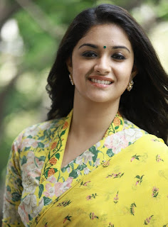 Keerthy Suresh in Yellow Saree with Cute and Awesome Lovely Smile for Promotions