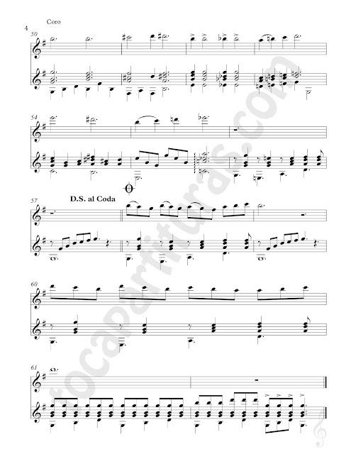 Music Score 2 Partitura de Dúo de Flauta Traversa y Guitarra de La Bikina de Rubén Fuentes Sheet Music for Duet Flute & Guitar