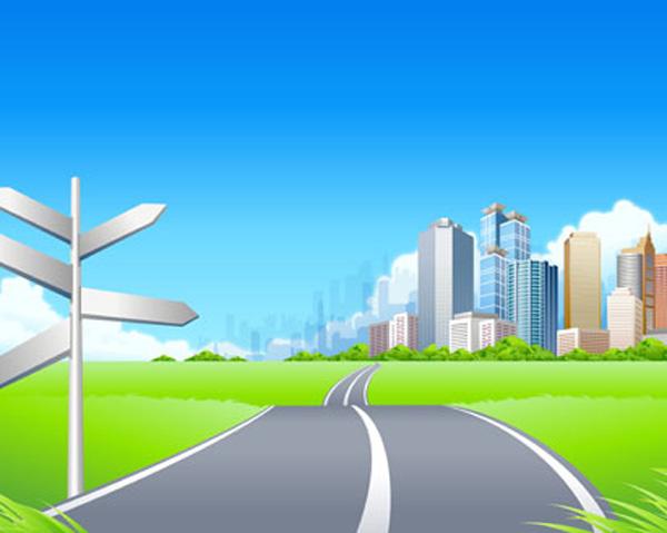Free Vector がらくた素材庫: 都市への道 Green Ci... Free Vect