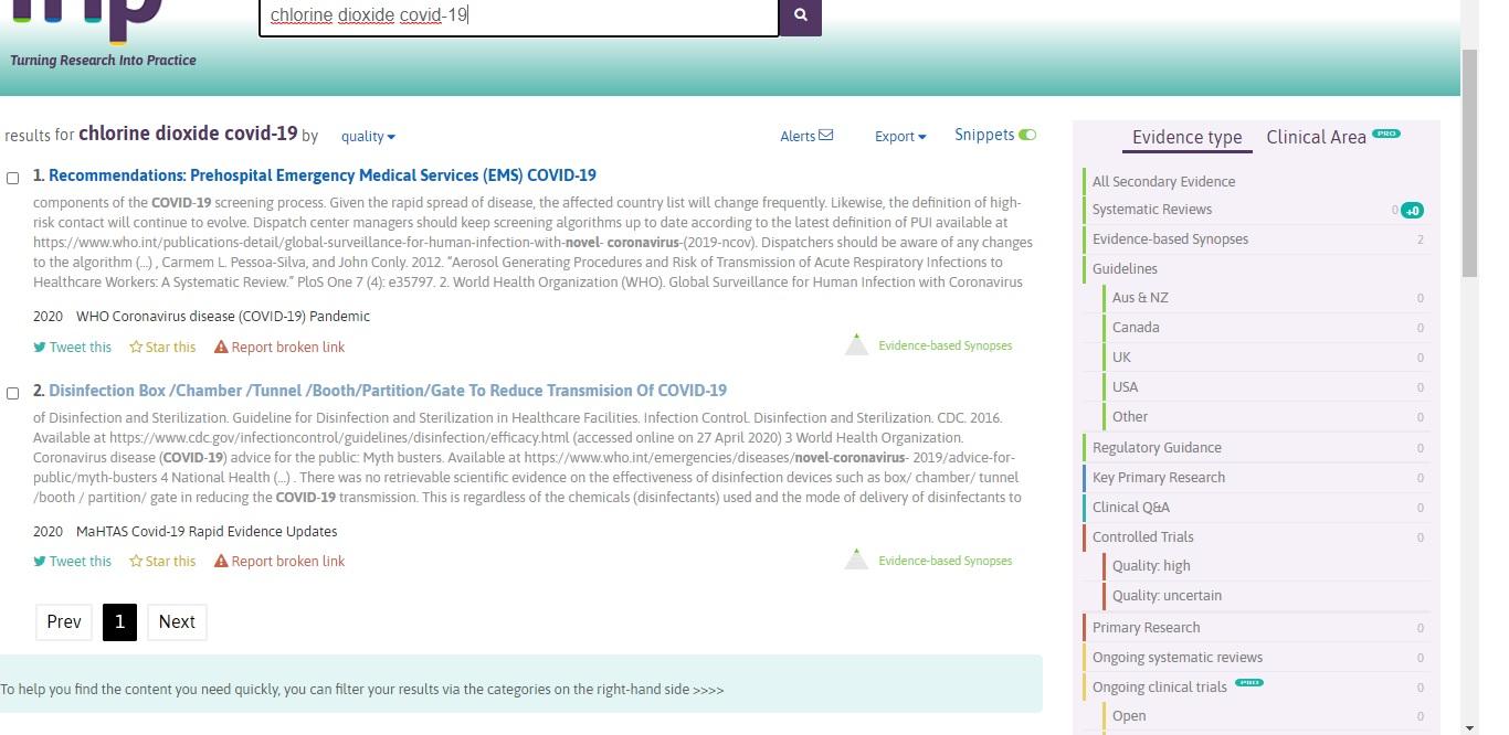 dioxido de cloro evidencia cientifica coronavirus
