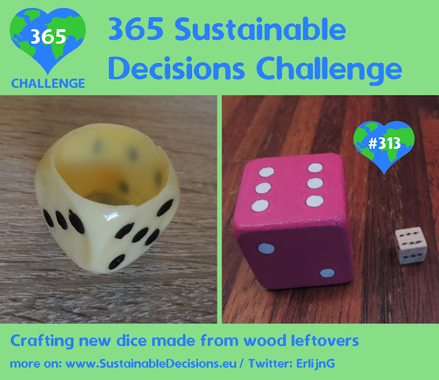 Crafting new dice made from wood leftovers, sustainability, sustainable living, climate action, upcycling