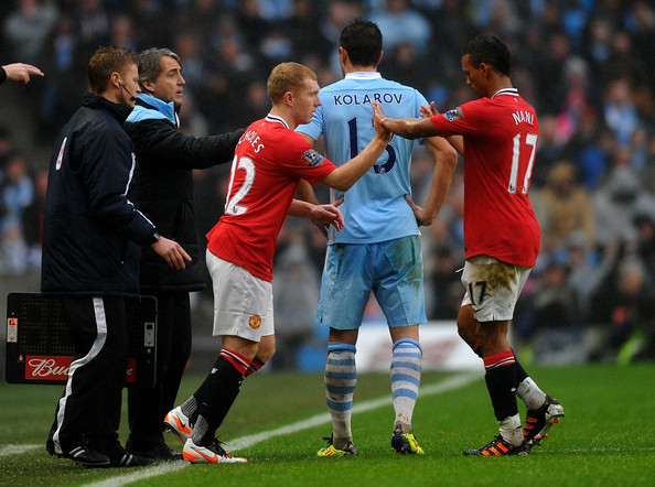 Paul Scholes of Manchester United comes on as a substitute during the FA Cup Third Round match between Manchester City and Manchester United at the Etihad Stadium on January 8, 2012 in Manchester, England