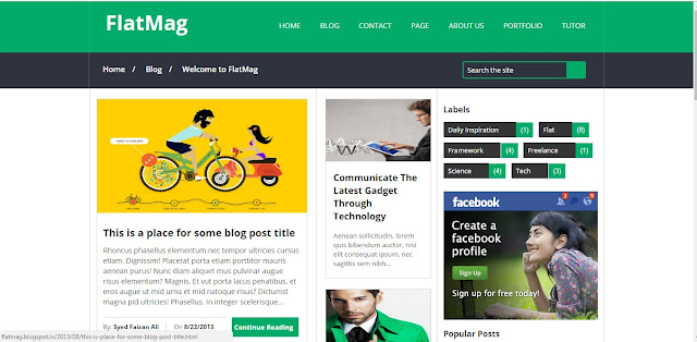 Simple FlatMag Blogger Responsive Seo Friendly Template