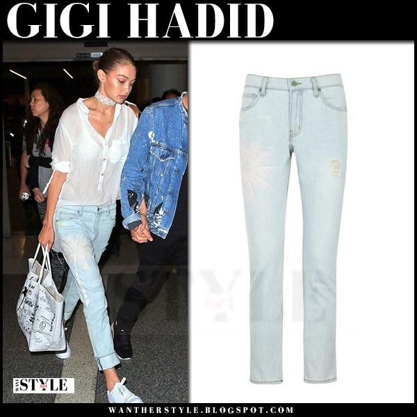 Gigi Hadid in white shirt and light blue embroidered boyfriend jeans sandrine rose what she wore models off duty