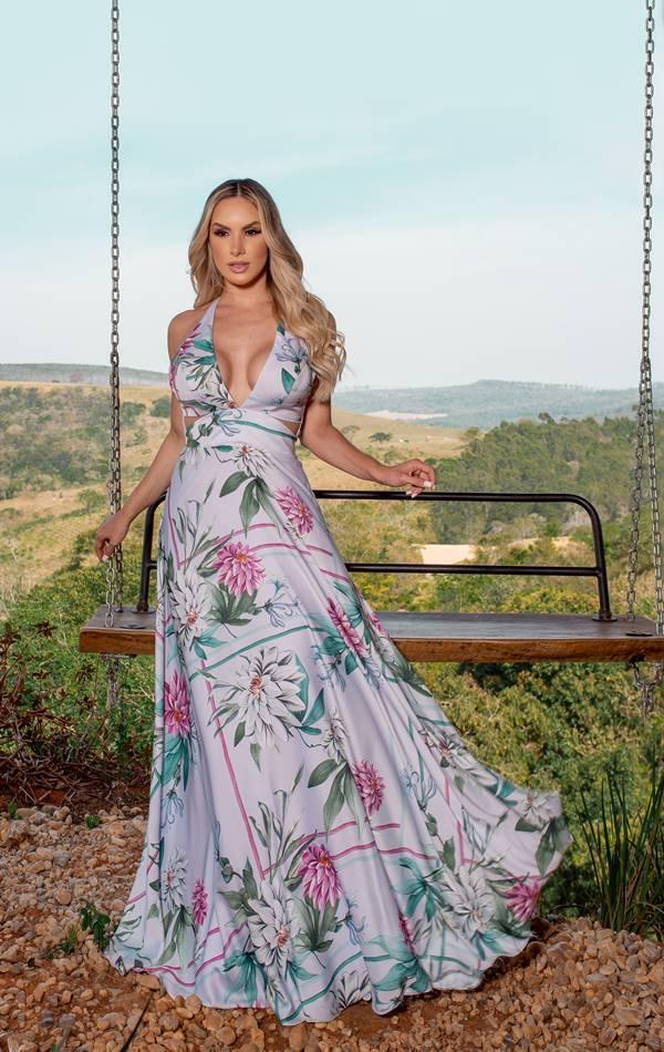 vestido de festa longo com estampa floral para madrinha de casamento