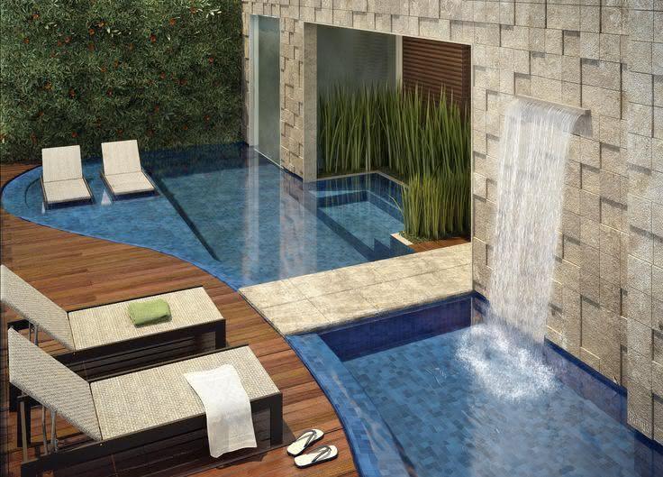 Wall-mounted stone facing pool waterfall