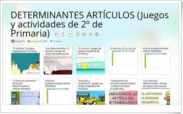 10 juegos y actividades sobre los DETERMINANTES ARTÍCULOS en 2º de Primaria