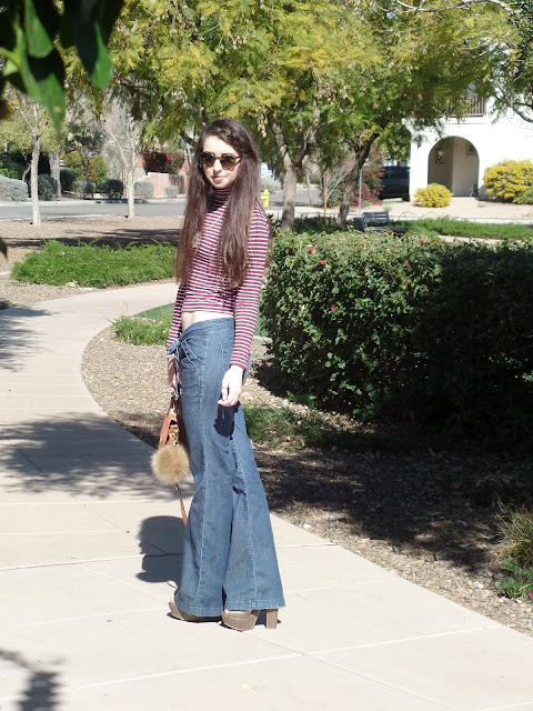 Flare jeans with platform shoes and turtleneck- outfit idea