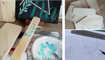 création en cours en bois, choix des couleurs pour la reproduction d'un logo
