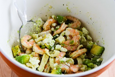 Lemony Shrimp Salad with Avocado, Heart of Palm, and Feta found on KalynsKitchen.com