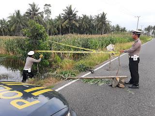 Polsek Bengkunat Sigap Melakukan Pemasangan Police Line, Demi Menjaga Keselamatan Pengendara