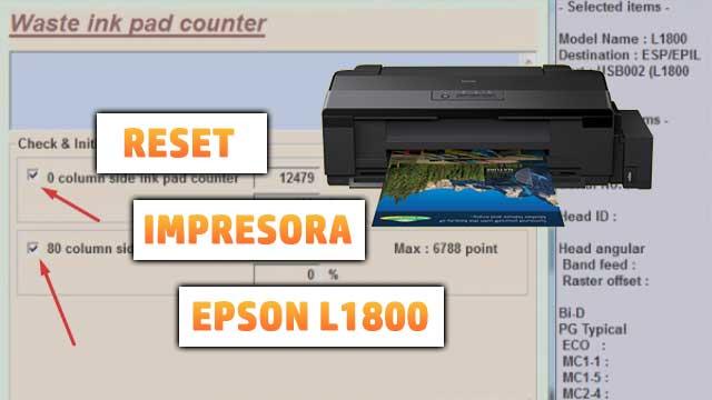 Reset almohadillas de la impresora EPSON L1800