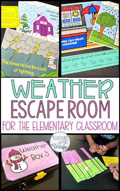 If your students are loving Escape Rooms they are going to flip over this one! It's all about weather. Add a little bit of science, some math problems, and matching idioms to their meanings and you have the puzzles for this escape! #teachersareterrific