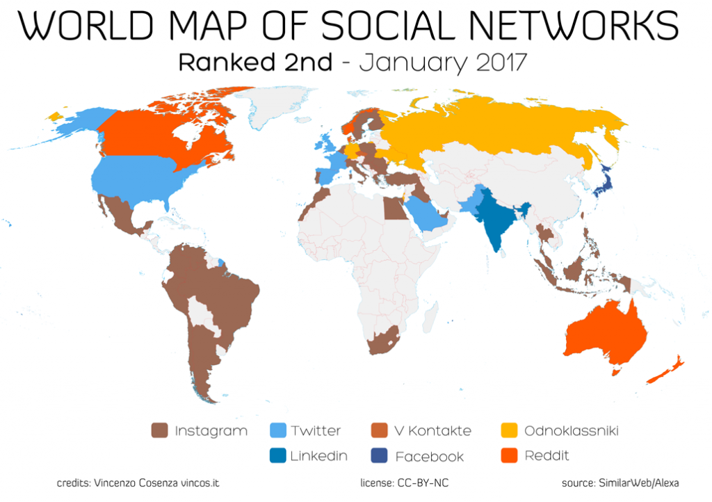 World map of social networks: Ranked 2nd (January 2017)