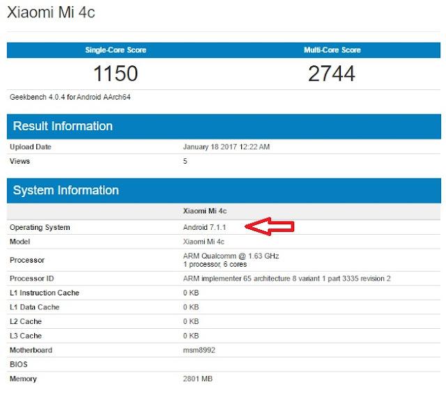 Xiaomi Mi 4c terlihat menjalankan Android v7.1.1 Nougat di Geekbench