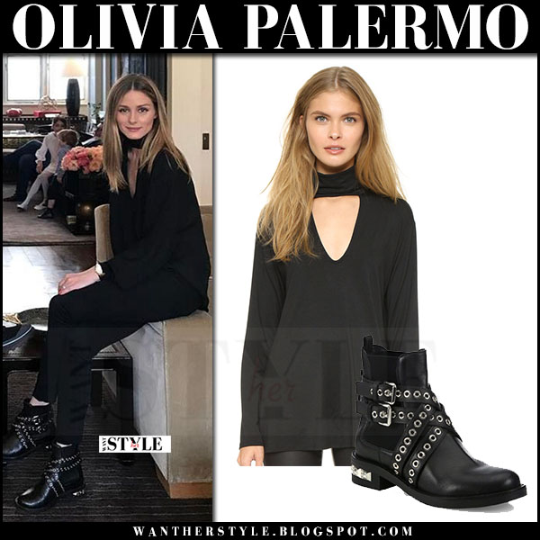 Olivia Palermo in black high neck rachel pally top and black ankle miu miu boots what she wore april 2017
