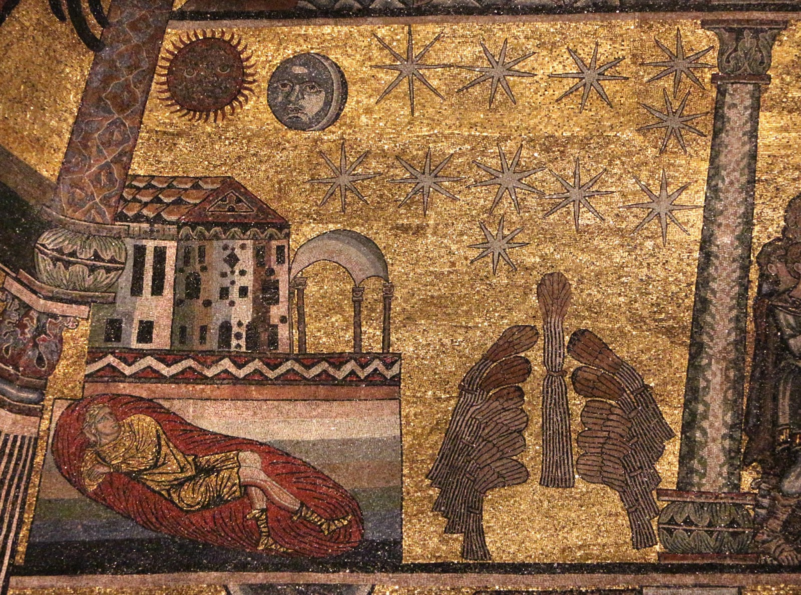 Josephs Dreams Of The Heavenly Bodies And Sheaves Wheat Genesis 37 6 11 Florence Baptistery Ca 1225 Image From Wikimedia Commons By Sailko