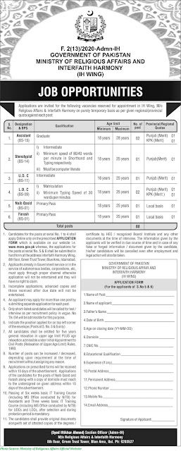Ministry of Religious Affairs Jobs December 2020 Apply Online for Ministry of Religious Affairs Jobs 2020