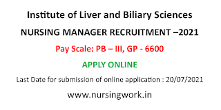 Nursing Manager Jobs in Institute of Liver and Biliary Sciences