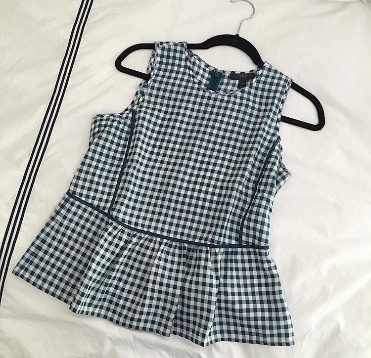 gingham ruffle top