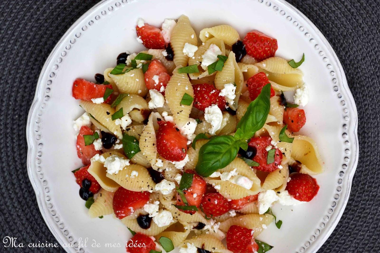 ma cuisine au fil de mes id 233 es salade de p 226 tes conchiglie aux fraises 224 la feta et basilic