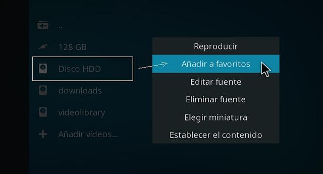 Acceso directo de disco duro en KODI