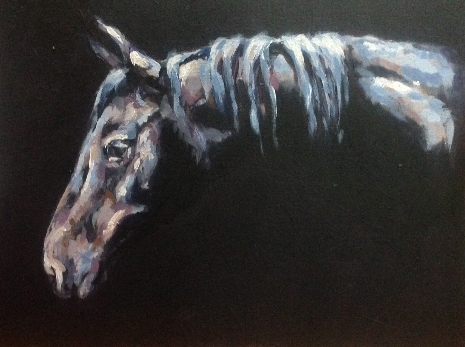 Midnight Sonata, acrylic painting of horse, contemporary equestrian art