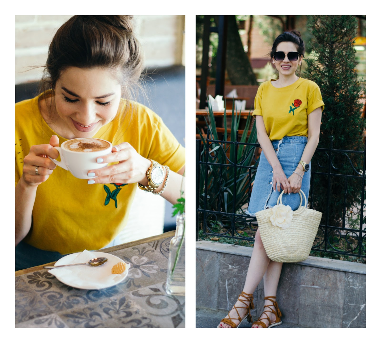 diyorasnotes diyora beta fashion blogger style outfitoftheday lookoftheday mini denim skirt yellow t-shirt  straw bag summer look street style casual
