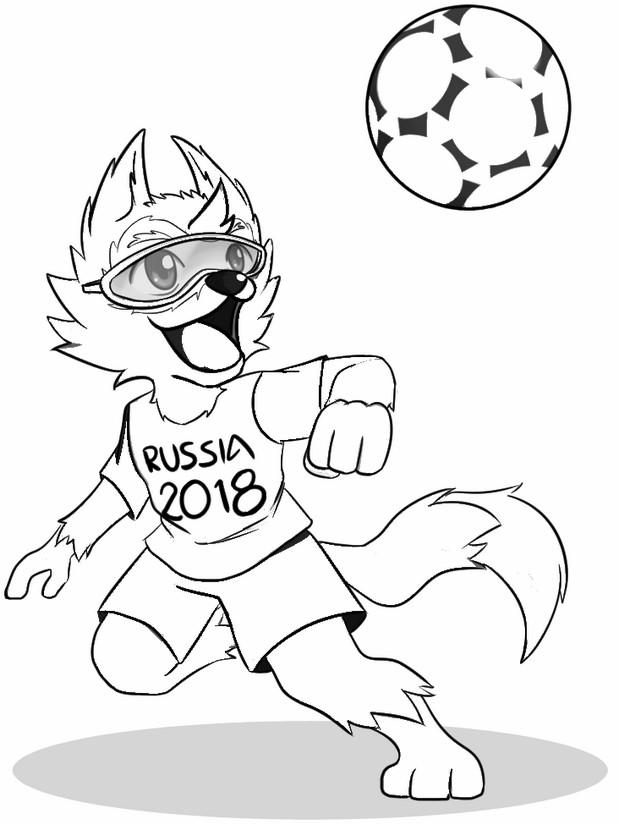 Lobo siberiano Zabivaka - mascote da Copa do Mundo de 2018 para colorir dfcb3da6f9f