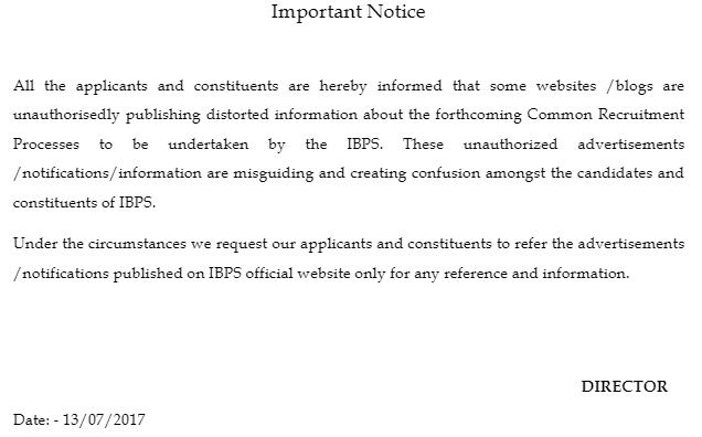 IBPS Important Notice regarding Fake Recruitment Notifications