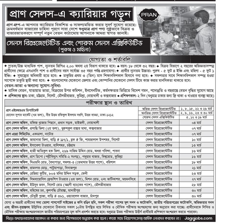 Pran Group Sales Representative (SR) Job Circular 2019