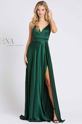 V-neckline A-line For Ieene Mac Dugga Evening Dress Dark Green color