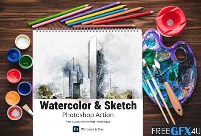 Watercolor & Sketch Photoshop Action