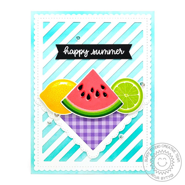 Sunny Studio Stamps: Slice Of Summer Hawaiian Hibiscus Frilly Frames Dies Fancy Frames Dies Summer Themed Cards by Vanessa Menhorn and Anja Bytyqi