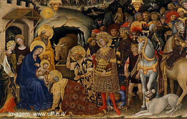 """A """"Adoração dos Magos"""", de Gentile Fabriano, na Galleria degli Uffizi, Florença"""