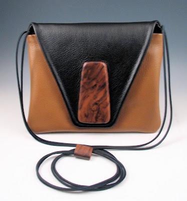 Wood and leather hand bags