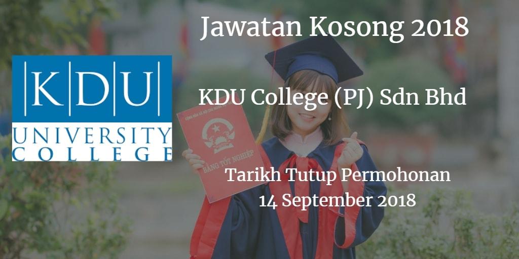 Jawatan Kosong KDU College (PJ) Sdn Bhd 14 September 2018