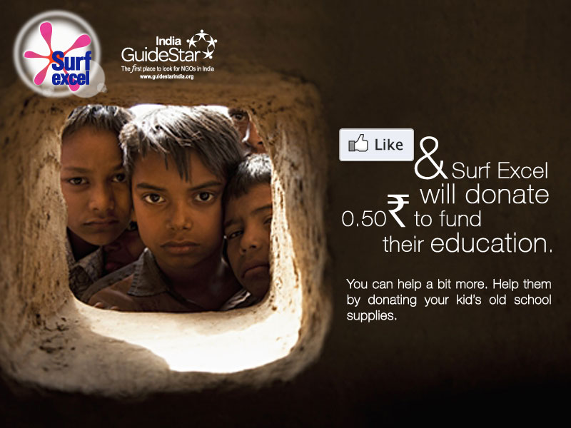 Support Education, Like Surf Excel and donate for Free (India