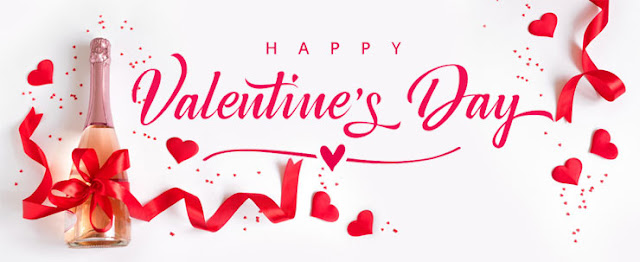 Valentine's Day little hearts, red ribbons, champing  Image
