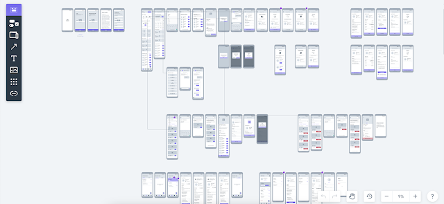 Wireframe for each feature on the Homker app