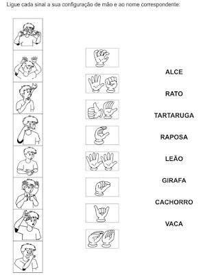Ligue cada sinal a sua configuração de mão e ao nome correspondente