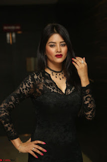 Actress Monica in spicy transparent Black Top at O Pilla Nee Valla Movie Audio Launch Feb 2017 134.JPG