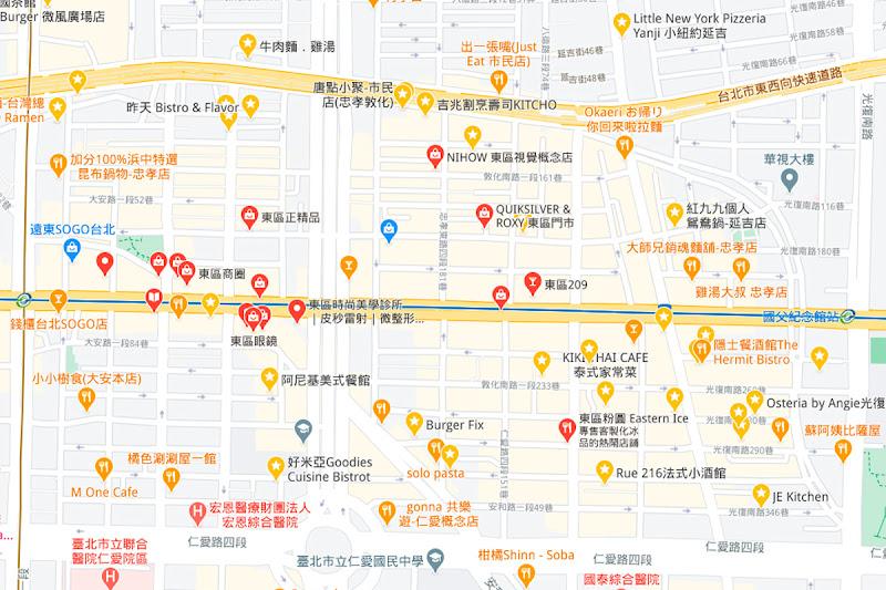 台北市東區範圍地圖